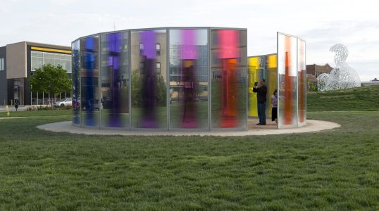 Olafur Eliasson (Danish, born 1967) panoramic awareness pavilion, 2013, Glass, metal, and light, 108 × 372 1/2 inches, Des Moines Art Center Permanent Collections; Purchased with funds from John and Mary Pappajohn