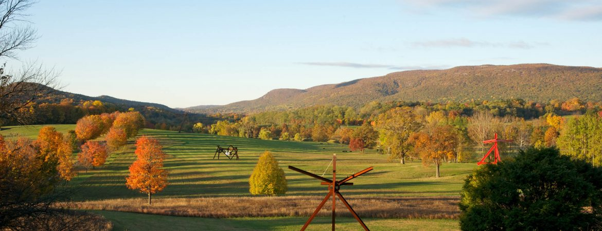View of the South Fields, all works by Mark di Suvero.