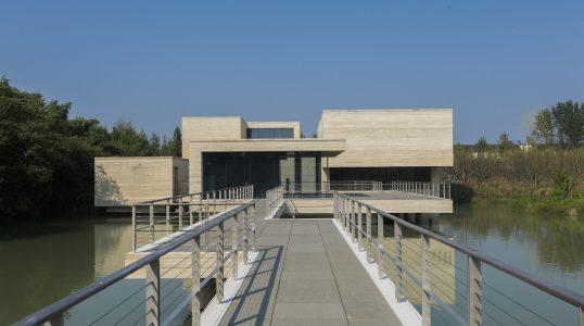 View of the Mu Xin Art Museum from the Entrance Bridge Photography by Shen Zhonghai